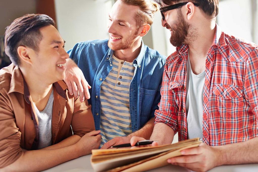 Smiling guys having friendly conversation