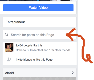 Search-Bar on New Facebook Page Layout